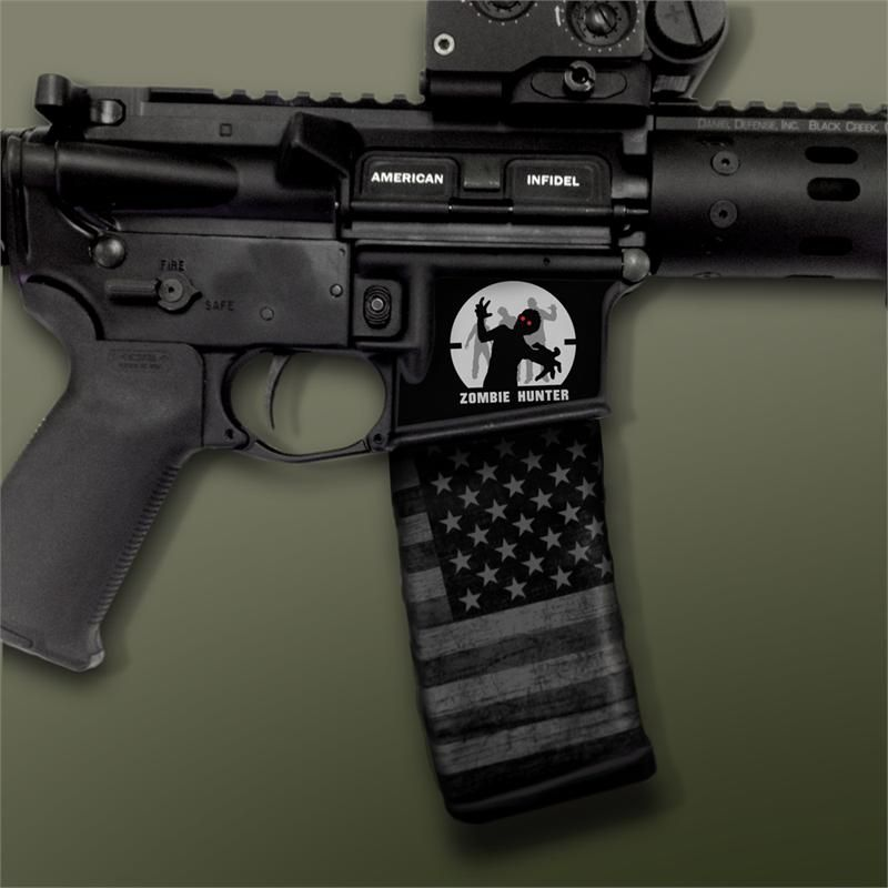 Ar 15 mag well decals mil spec monkey zombie hunter