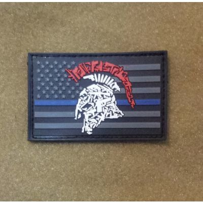Tactical Shit Gun Spartan Thin Blue Line PVC Patch