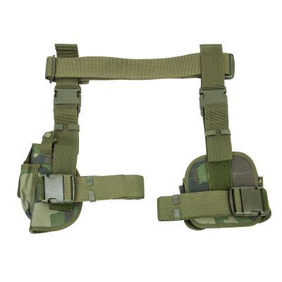 3Pcs Drop Leg Gun Holster And Magazine Holder/Woodland Camo