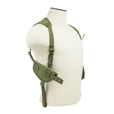 Ambidextrous Horizontal Shoulder Holster/Double Magazine Holder/Green