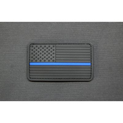 Blackout Thin Blue Line PVC US Flag Patch