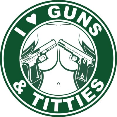 I Love Guns and Titties Stickers | Green and White