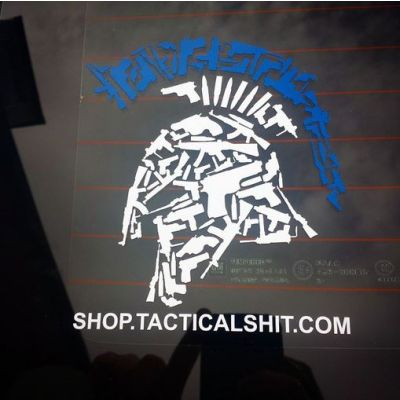 Thin Blue Line Tactical Shit Gun Spartan with URL Vehicle Window Decal 10""