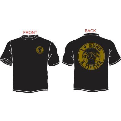 I Love Guns and Titties T-Shirt Black and Tan