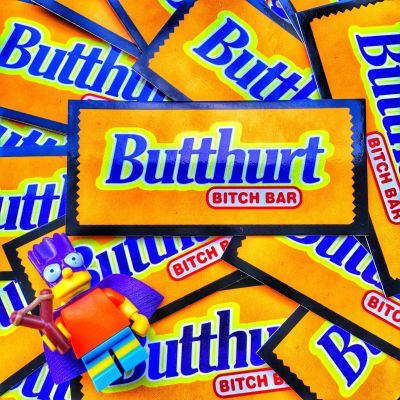 Butthurt Bitch Bar Butter Finger Sticker