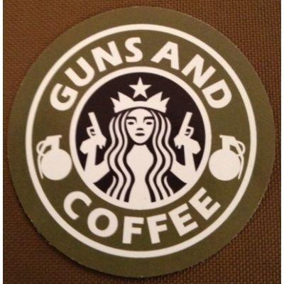 "Guns & Coffee Sticker 3"" - Sticker"