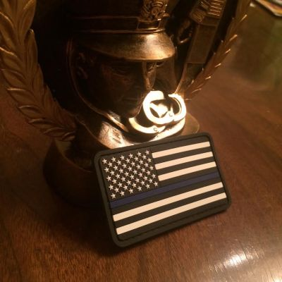 Thin Blue Line American Flag PVC Black and White