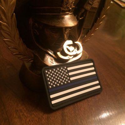 Thin Blue Line American Flag PVC Black and White
