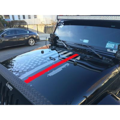 Thin Red Line Distressed Flag Hood Graphic