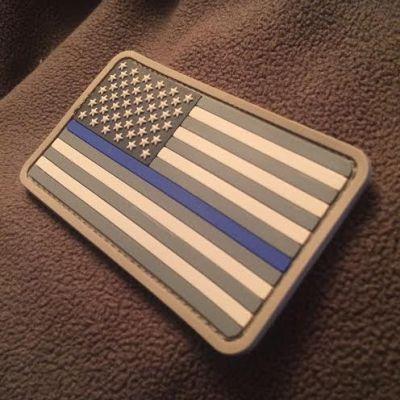 Thin Blue Line American Flag PVC